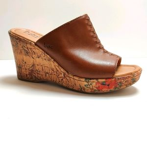 BOC Brown Leather Platform Wedge Slides 7